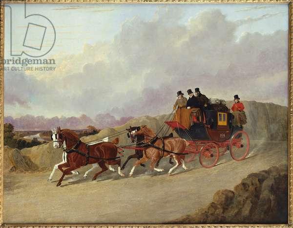 The Edinburgh to London Royal Mail Coach (oil on canvas)