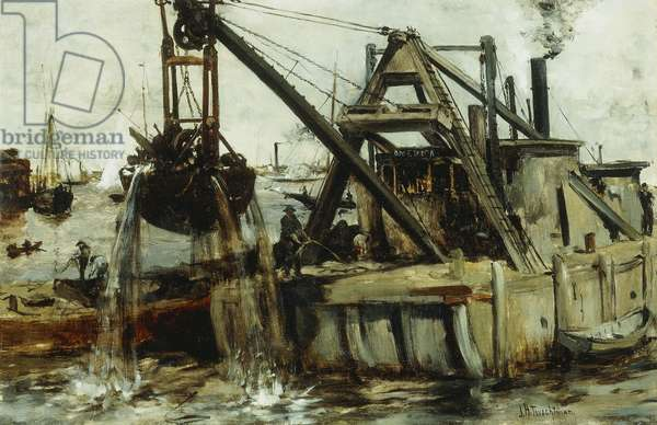 Dredging in the East River, (oil on canvas)