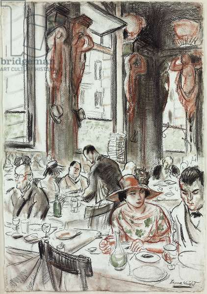 Lunch at the Cafe Royal, London (pencil, black and sanguine chalk with green wash, on paper)