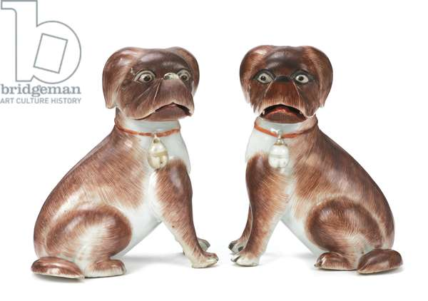 Pair of Chinese export figures of Seated Pug Dogs, Qianlong, 1736-95 (ceramic)