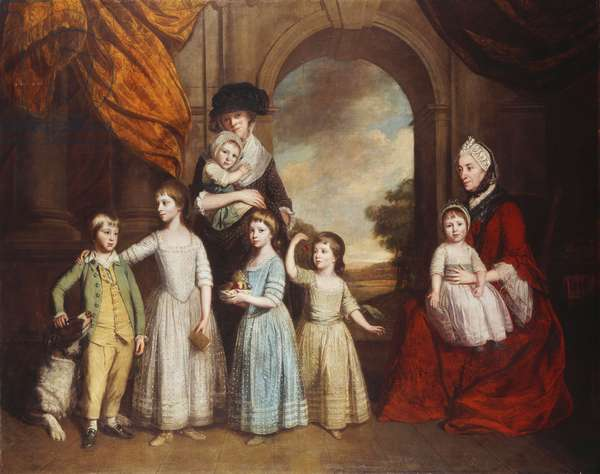 A Group Portrait of the Craven Children, full-length, before an Arch with a Landscape Beyond, 1776 (oil on canvas)