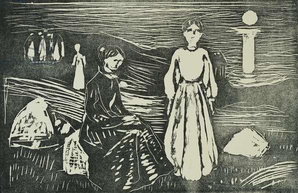 Frauen am Meeresstrand in der Sommernacht (SSH. 339), 1908-1909 (woodcut)