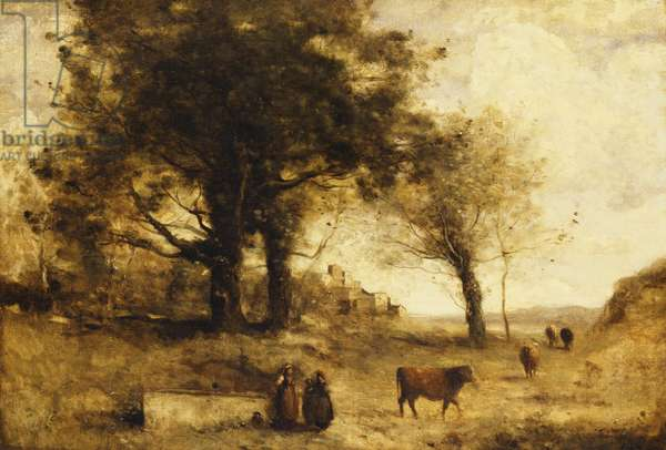 The Cows and the Well,  (oil on canvas)