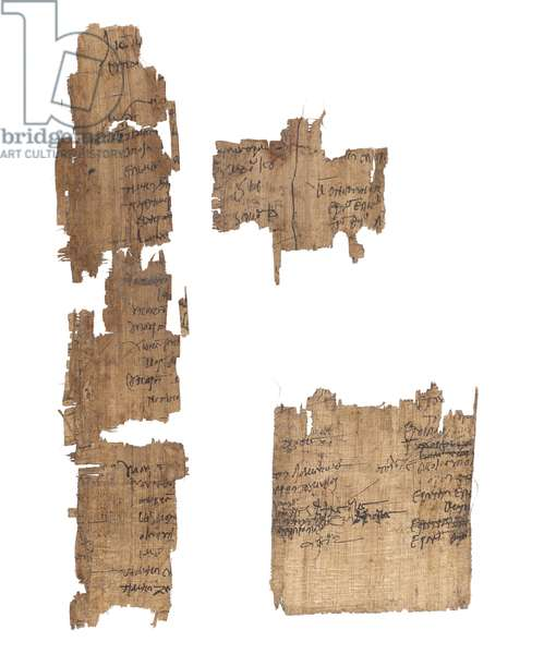 Collection of Greek and Coptic papyri fragments, 2nd to 4th century (ink on papyrus)