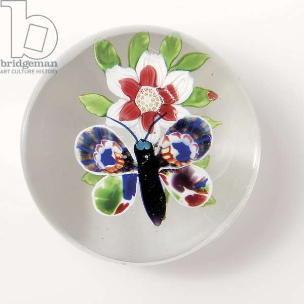 Baccarat butterfly and flower weight, the insect with deep purple body and antennae, multi-coloured wings (glass)