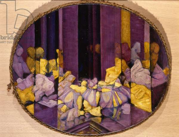 Yellow and Purple Display, Reminiscence I, 1921 (oil on canvas & rope)