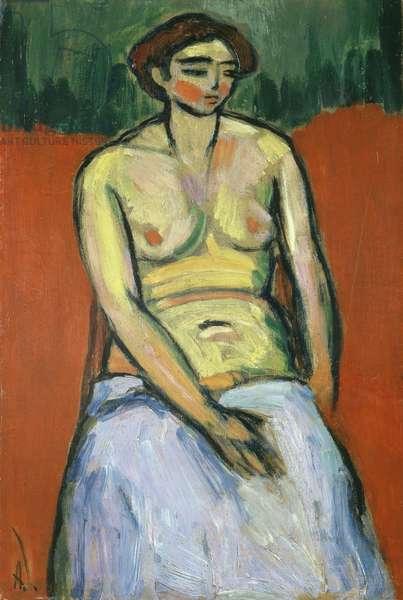 Seated Female Nude, c.1910 (oil on board)