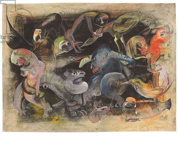 Ewiger Kampf II, c.1924-28 (gouache, pen & black ink, charcoal, silver pen & pencil on paper)