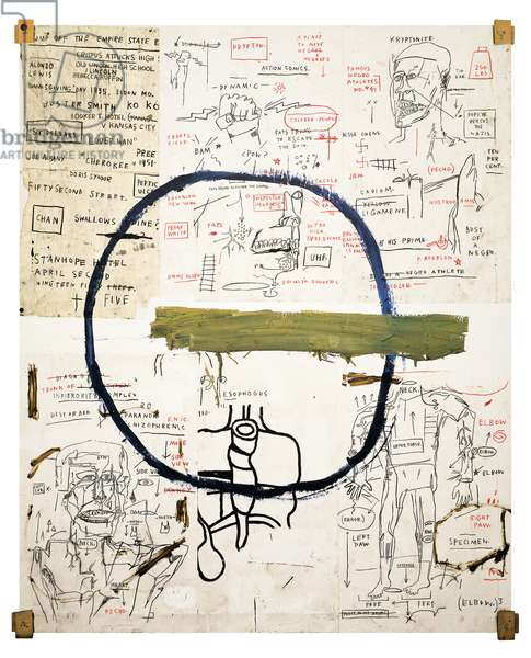 Jesse, 1983 (acrylic, oilstick, graphite & paper collage on canvas with wood supports)