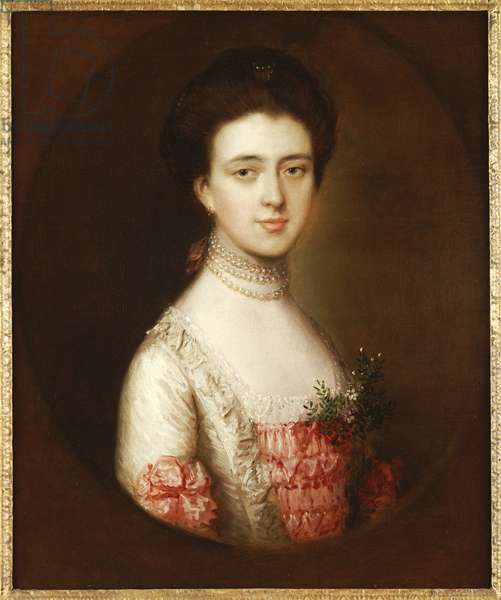 Portrait of a lady, bust length, in a pink and white dress trimmed with lace and a pearl necklace (oil on canvas)