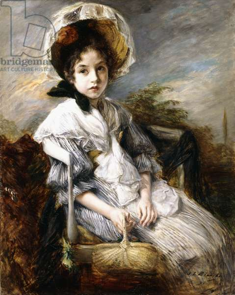 Portrait of a Young Girl Seated in a Landscape,  (oil on canvas)