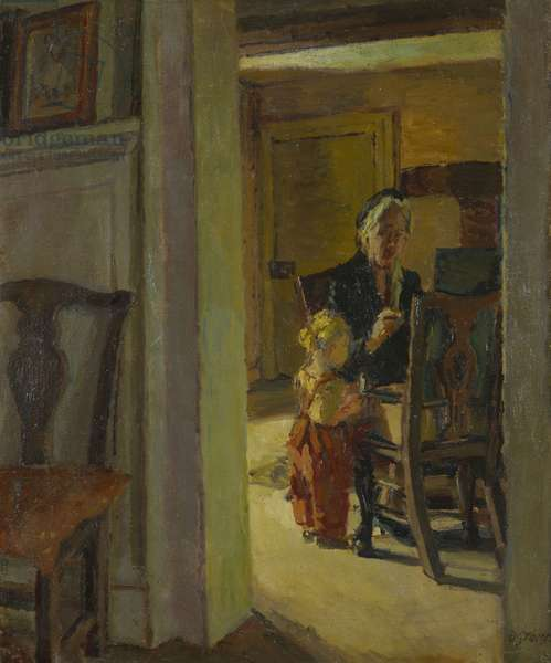 Vanessa Bell Painting at Charleston with Angelica Bell Watching (oil on canvas)
