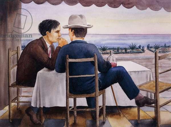On the Terrace (Self-Portrait); Auf der Terrasse (Selbstbildnis), 1923 (watercolour on paper)