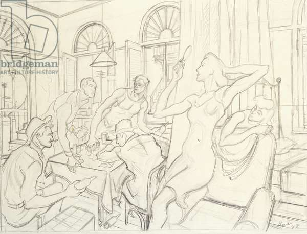 Study for Poker Night, 1948 (pencil on buff paper)