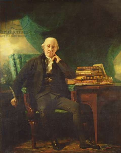 Portrait of Adam Rolland of Gask holding a quill