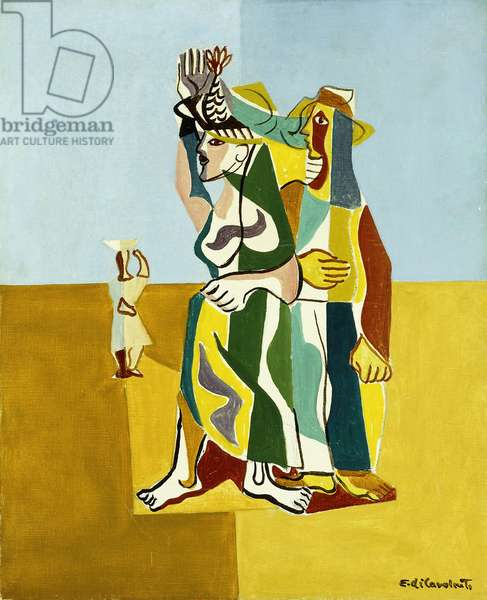 Couple in a Landscape, c.1950-1952 (oil on canvas)