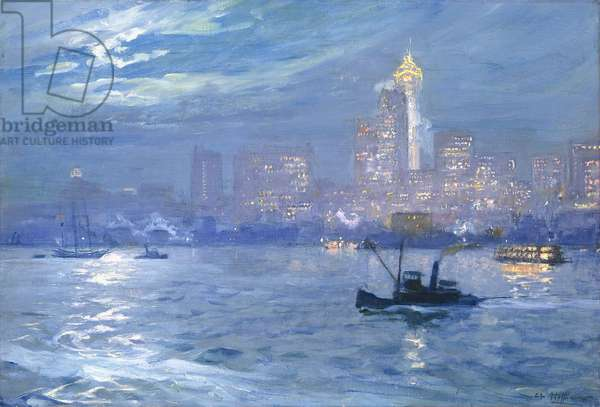 New York Harbour - Skyline at Night,  (oil on canvas)