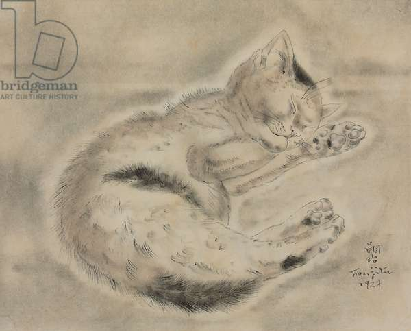 Sleeping Kitten; Chaton endormi, 1927 (watercolour and pen and India ink on paper)