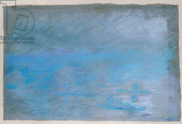 Waterloo Bridge, Brouillard, 1901 (pastel on blue paper)