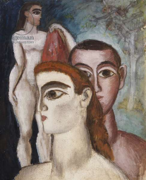 The Family, 1911 (gouache on paper laid down on board)