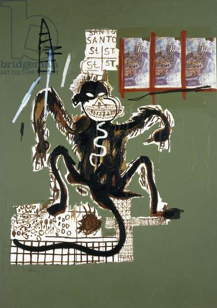 Sacred Ape, 1986 (oil, acrylic, oilstick and paper collage on canvas)