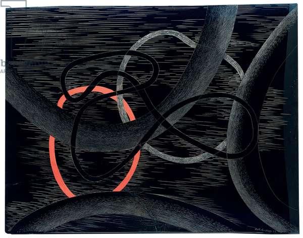 Composition, 1939 (oil on incised plexiglass)