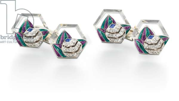 Pair of Art Deco cufflinks, 1928 (rock crystal, diamonds, sapphires, enamel, platinum & gold)