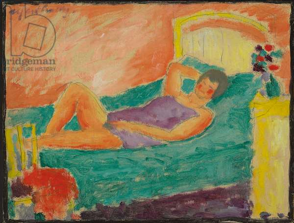 Reclining Girl; Liegendes Madchen, c.1917 (oil and pencil on board)