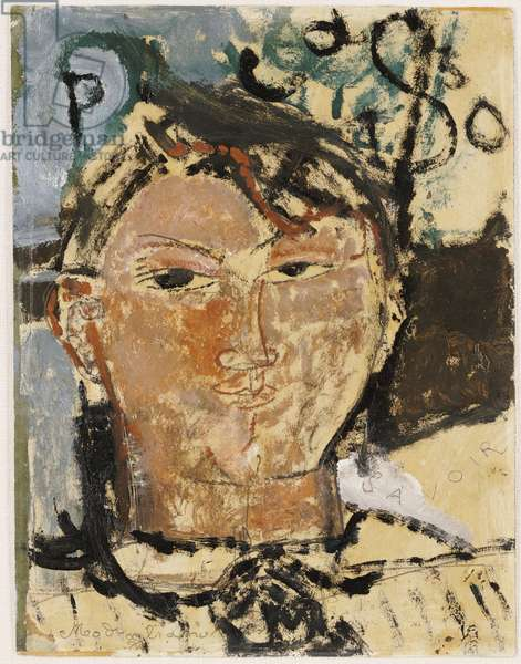 Portrait of Picasso, 1915 (oil on paper laid on card)