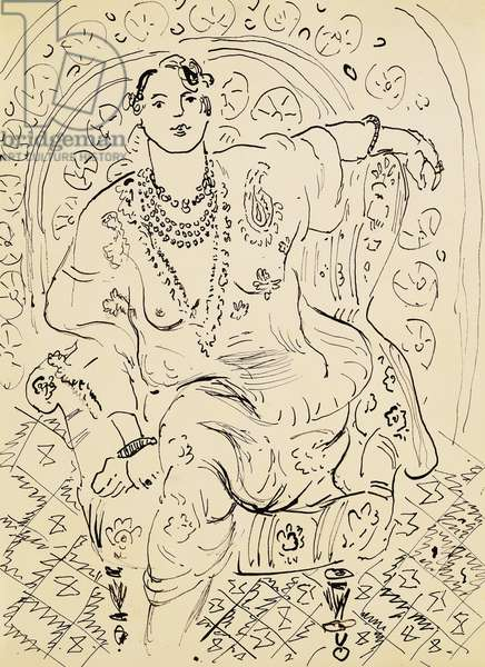 Odalisque with Flowery Background, 1925-26 (pen and India ink on paper)