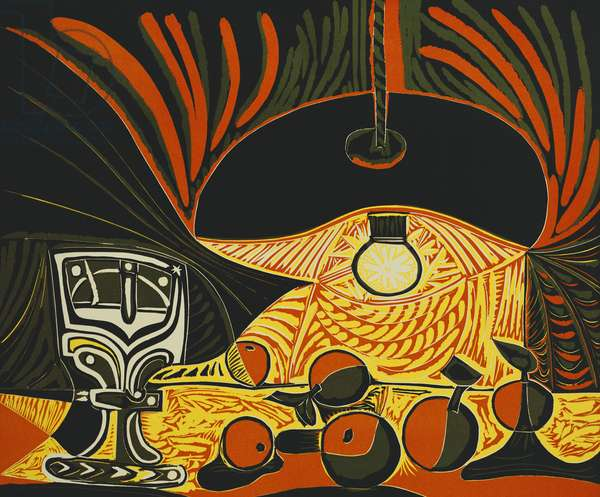 Still Life Under the Lamp, 1962 (linocut printed in colours)