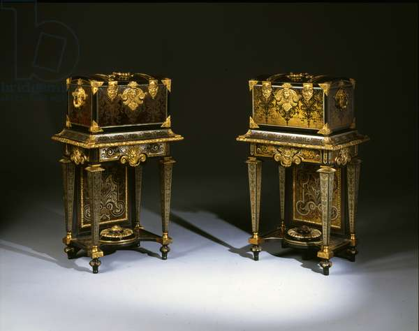 Pair of Louis XIV coffres de toilette (mariage) (ebony, brass, pewter & tortoiseshell)