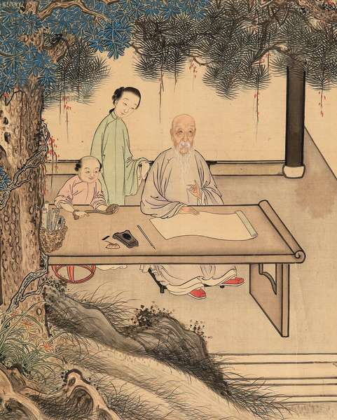 Yuan Mei and his female students (ink & colour on silk) (see also 745558-61)