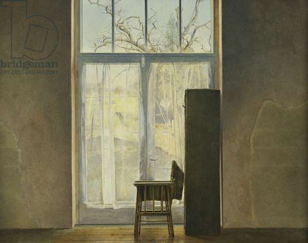 Folding Chair and Screen Leaning Against a Window, 1977 (tempera on gesso-prepared board)