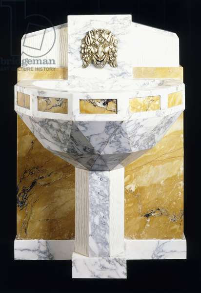 An Italian marble and brass fountain by Sue et Mare, c.1925 (yellow, white and gray marble, brass)