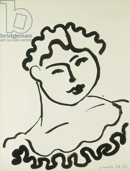 Bust of a Woman; Buste de Femme (Tati), 1947 (brush and India ink on paper)