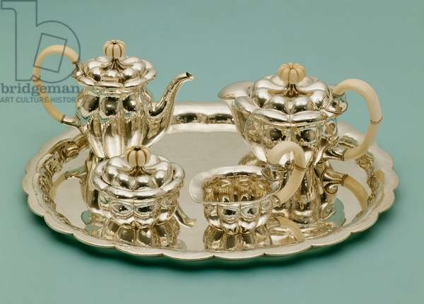 A Wiener Werkstatte hammered silver and ivory tea and coffee service (silver, ivory)