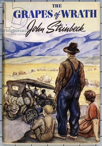 Wrap-around colour book cover for the first edition of John Steinbeck's 'The Grapes of Wrath', 1939 (pictorial dust jacket, cloth slipcase)