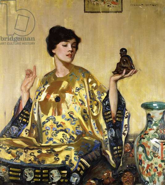 Young Girl in a Kimono with a Buddha,  (oil on canvas)