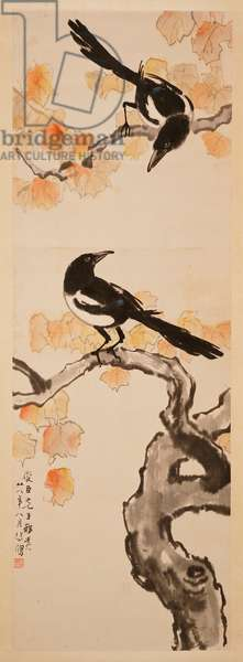 Two Magpies on Red Leafed Tree, 1939 (hanging scroll, ink and colour on paper)