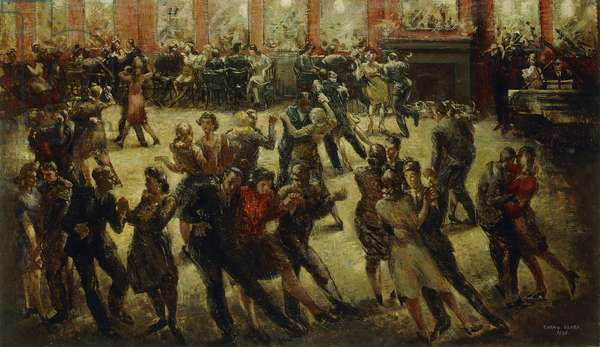 Dancing in a South London Pub in Wartime, 1945 (oil on canvas)