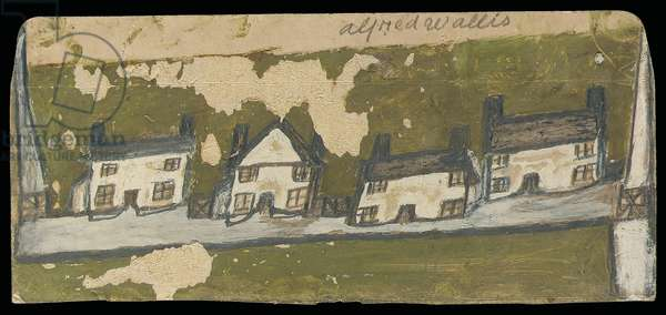 Row of four cottages (oil & pencil on card)