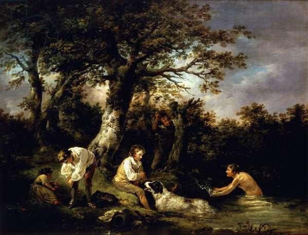 Boys Bathing,  (oil on canvas)