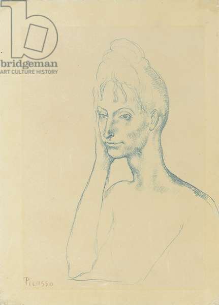 Young Girl Leaning; Jeune fille accoudee, 1903-1904 (blue crayon on paper)