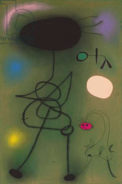 Woman and Bird in Front of the Sun; Femme et Oiseau devant le Soleil, 1942 (pastel and brush and ink on paper)
