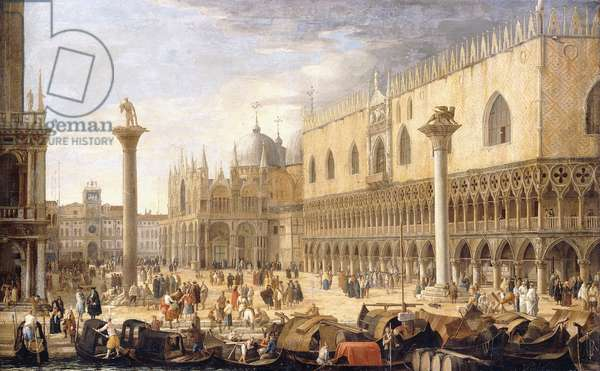 The Piazzetta, Venice, from the Bacino,  (oil on canvas)