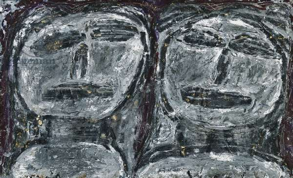 Two Characters; Deux Personnages, (thick gouache on paper)