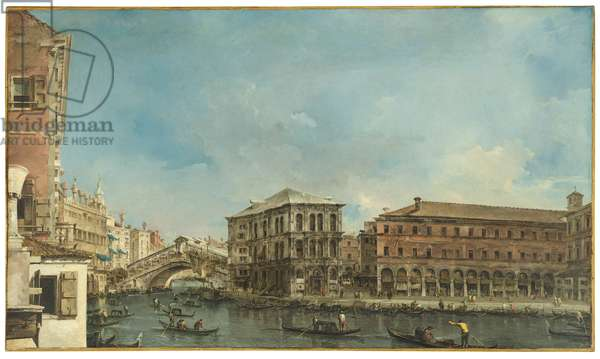 Venice: the Rialto Bridge with the Palazzo dei Camerlenghi (oil on canvas)