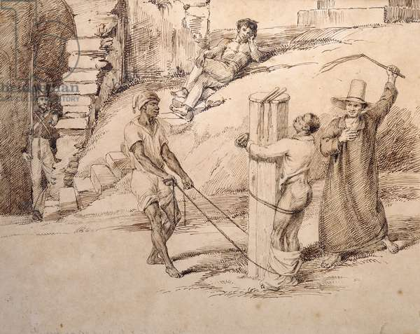 The Punishment of a Slave; O Castigo de um Escravo, c. 1825-6 (pen & ink)