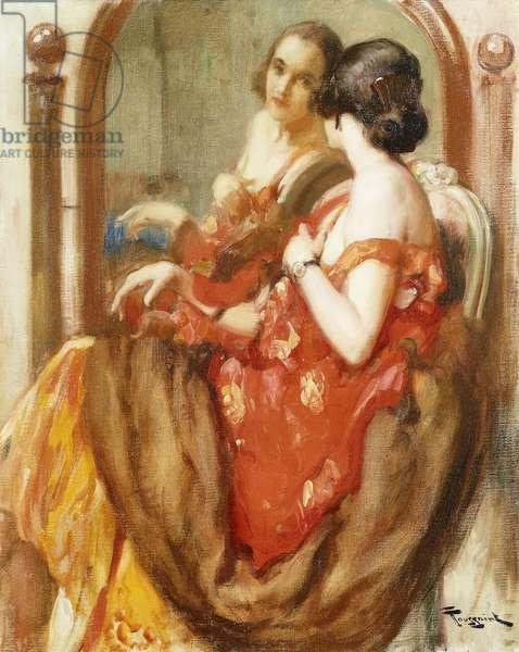 A Fair Reflection, (oil on canvas)
